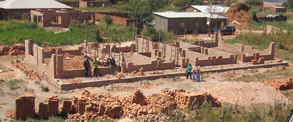 Early construction of Academic Building on Lubumbashi Bible School campus