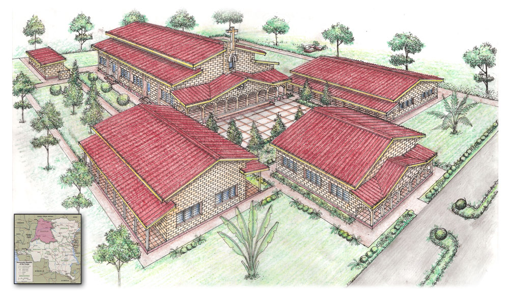 Architectural rendering of proposed Bible school campus in Mbandaka