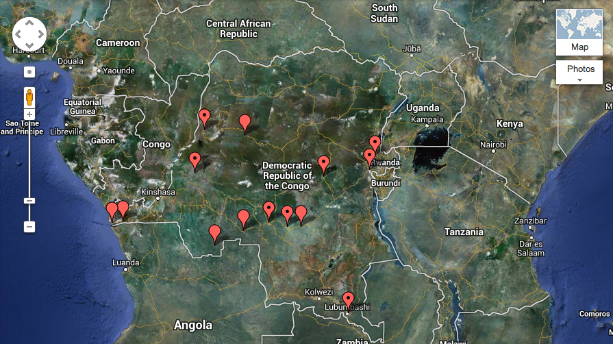 The Congo Project on Google Maps
