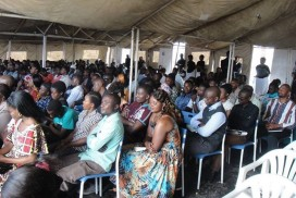 Pastor Timothée's tent church congregation