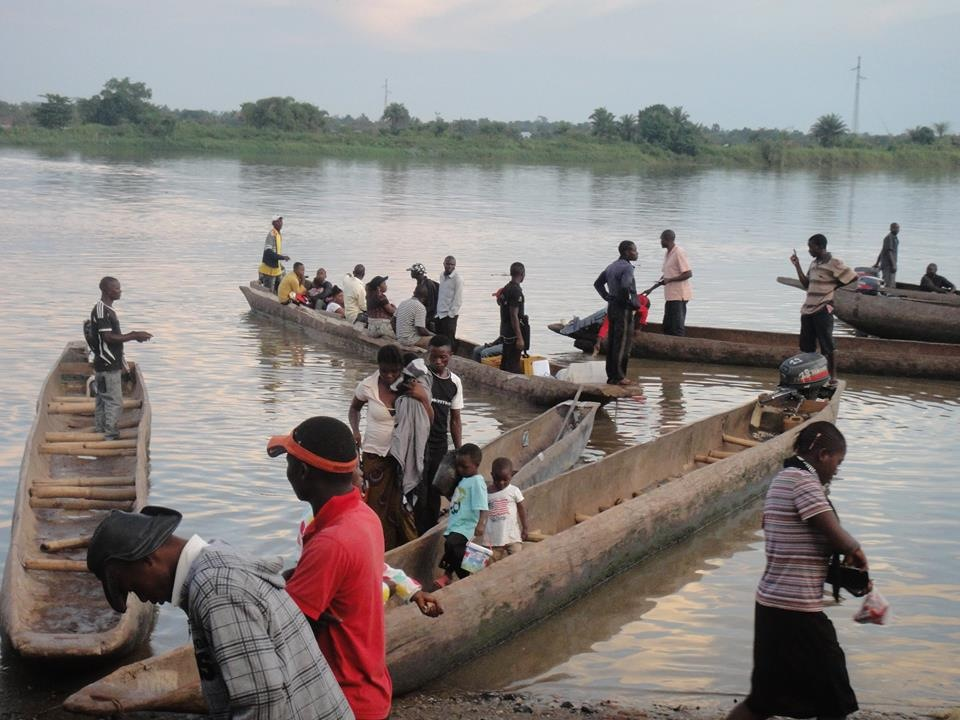 Dugout canoes on the Lualaba River in Kindu