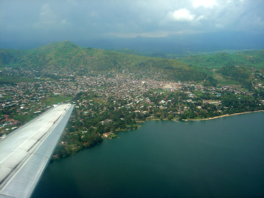 Aerial view of Goma on the banks of Lake Kivu