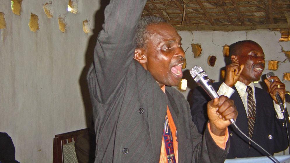 Pastor Kalunga preaching