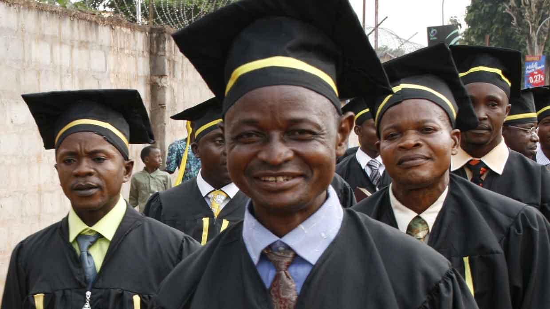 Mbandaka graduates marching