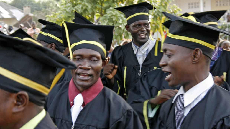 Mbandaka graduates celebrating