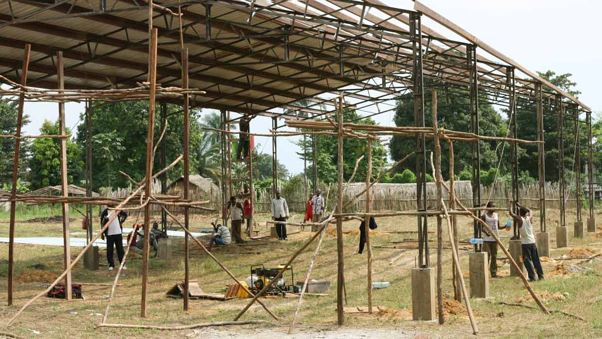 Mbandaka Bible School under construction